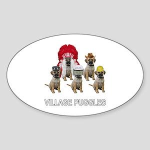 Village Puggles Oval Sticker