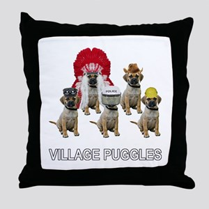 Village Puggles Throw Pillow