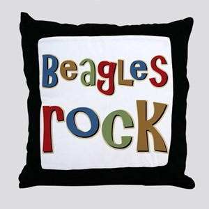 Beagles Rock Dog Owner Lover Throw Pillow