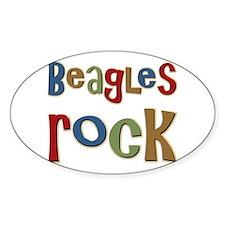 Beagles Rock Dog Owner Lover Oval Sticker