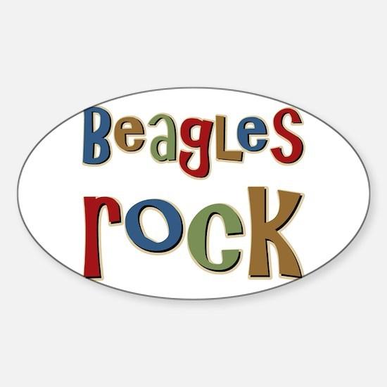 Beagles Rock Dog Owner Lover Oval Decal