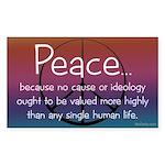 """Peace because..."" sticker"
