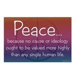 """Peace because..."" postcards (pkg of 8)"
