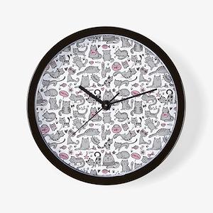 Whimsical Cartoon Cat Pattern Wall Clock