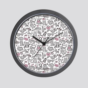 Whimsical Cartoon Cat Pattern Wall Clock