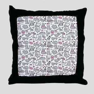Whimsical Cartoon Cat Pattern Throw Pillow