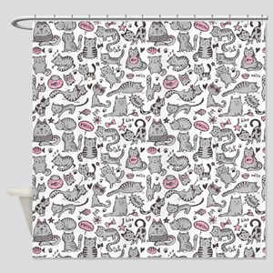 Whimsical Cartoon Cat Pattern Shower Curtain