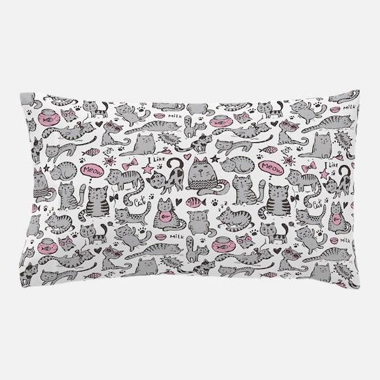 Whimsical Cartoon Cat Pattern Pillow Case