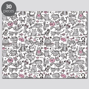 Whimsical Cartoon Cat Pattern Puzzle