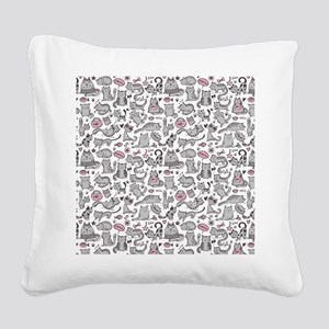 Whimsical Cartoon Cat Pattern Square Canvas Pillow