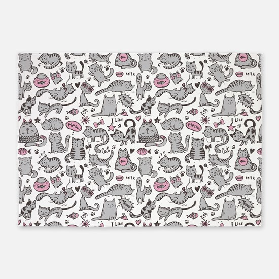 Whimsical Cartoon Cat Pattern 5'x7'Area Rug