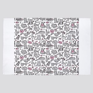 Whimsical Cartoon Cat Pattern 4' x 6' Rug