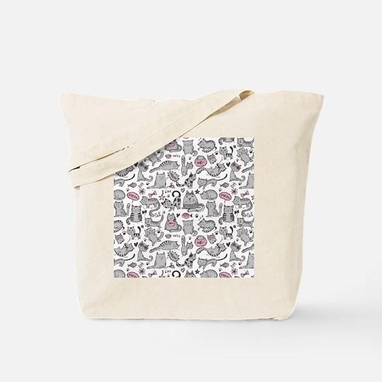 Whimsical Cartoon Cat Pattern Tote Bag