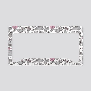 Whimsical Cartoon Cat Pattern License Plate Holder