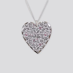 Whimsical Cartoon Cat Pattern Necklace Heart Charm
