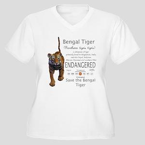 Bengal Tiger Women's Plus Size V-Neck T-Shirt