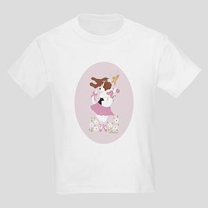 Basset Hound Ballerina Oval Kids Light T-Shirt