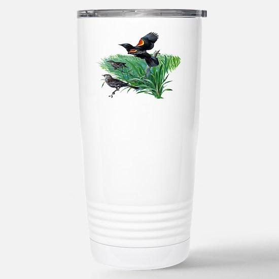 Red Winged Blackbird Stainless Steel Travel Mug