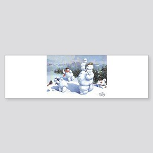 Golden Christmas Snowflakes Bumper Sticker