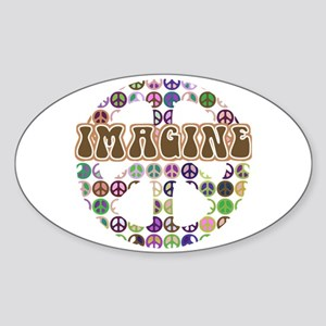 Imagine Peace On Earth Oval Sticker