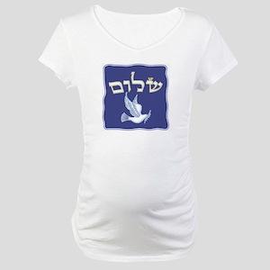 Shalom w/Dove /Bg (Hebrew) Maternity T-Shirt