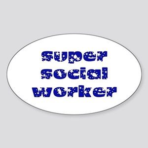 super social worker (Navy) Oval Sticker