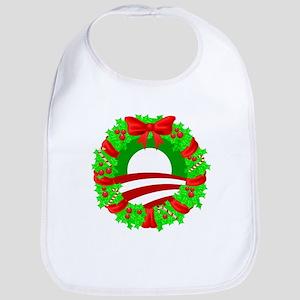 Barack Obama Christmas Wreath Bib