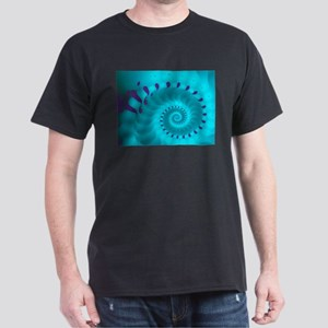Chambered Nautilus Fractal Art Dark T-Shirt