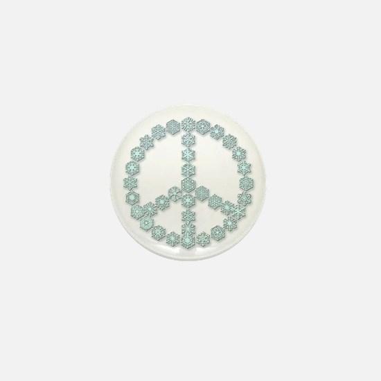 Snowflake Peace Symbol Mini Button (10 pack)