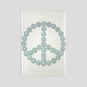 Snowflake Peace Symbol Rectangle Magnet