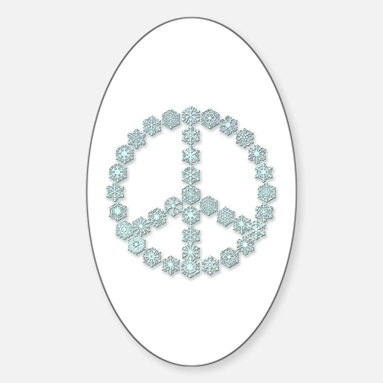 Snowflake Peace Symbol Oval Decal