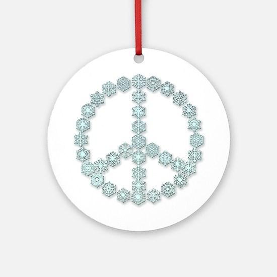 Snowflake Peace Symbol Ornament (Round)