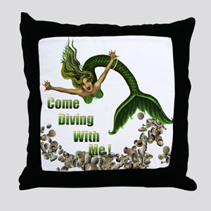 Diving in Green Throw Pillow