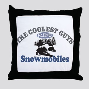 Coolest Guys Snowmobile Throw Pillow