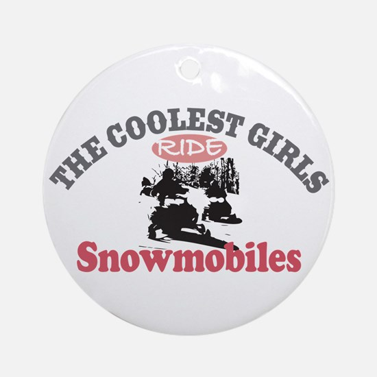 Coolest Girls Snowmobile Ornament (Round)