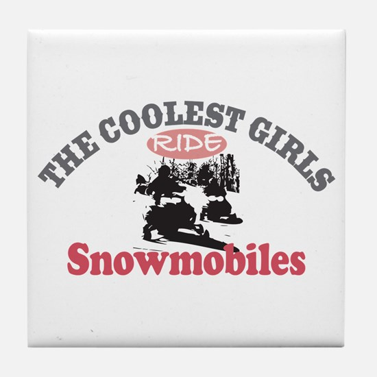 Coolest Girls Snowmobile Tile Coaster
