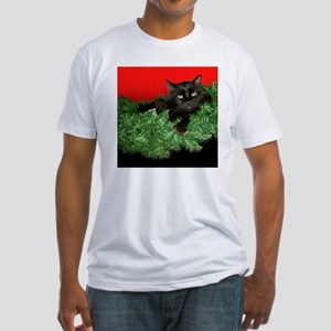 Furry Cat Christmas Wreath Fitted T-Shirt