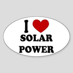 I Heart Solar Power Oval Sticker