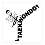 Taekwondo Kicker Square Car Magnet 3