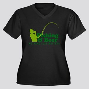 Fishing & Beer Women's Plus Size V-Neck Dark T-Shi