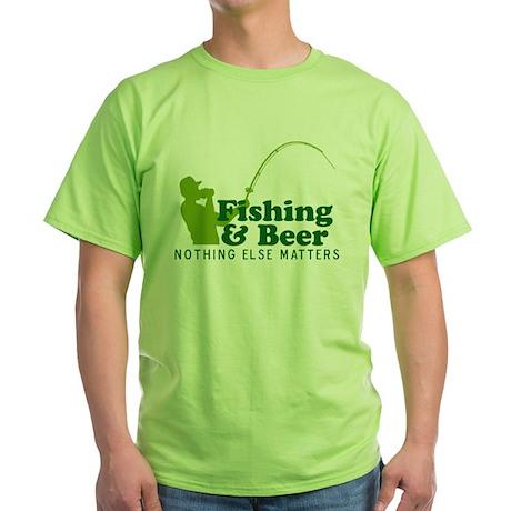 Fishing & Beer Green T-Shirt