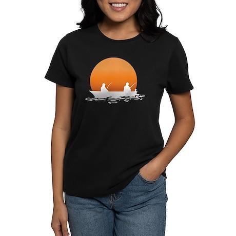 Fishing At Sunset Women's Dark T-Shirt