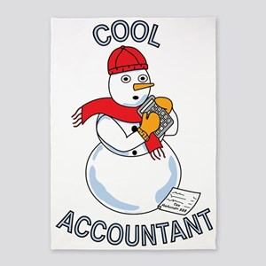 Cool Accountant Snowman 5'x7'Area Rug