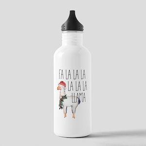Funny Christmas Llama Water Bottle