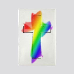 Rainbow Cross Rectangle Magnet