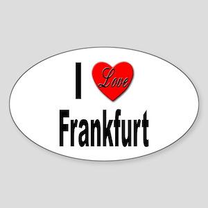 I Love Frankfurt Germany Oval Sticker