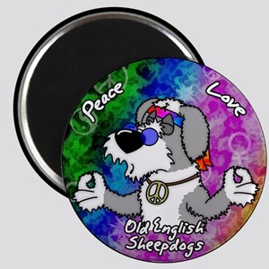 Hippie Old English Sheepdog Magnet