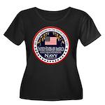 Navy Aunt Women's Plus Size Scoop Neck Dark T-Shir