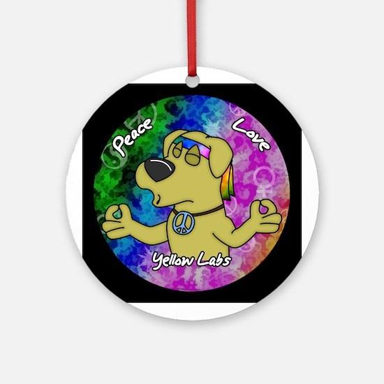 Hippie Yellow Lab Ornament (Round)