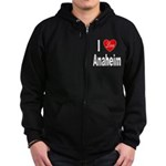 I Love Anaheim California (Front) Zip Hoodie (dark